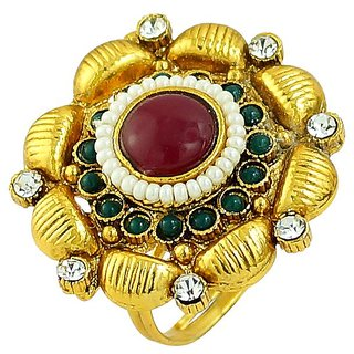 Emearld Ruby Simulatde Stone Gold Plated Cz Pearls Rings Jewelry RG-0252