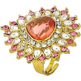 Pink Tourmaline Simulated White Color Cz Gold Plated Rings RG-0255 By R S Jewels