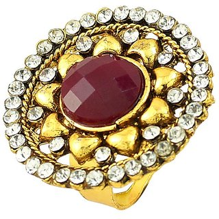Round Shape Gold Plated Ruby Simulated Stone Cz Rings Jewelry RG-0262