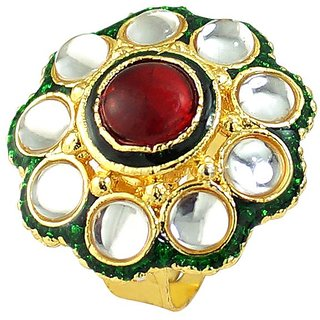 Ruby Stone Simulated Enamel Gold Plated Rings Jewelry RG-0269