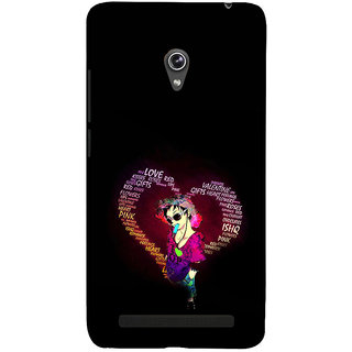 ifasho Animated Pattern With Love and heart and Ishq Back Case Cover for Asus Zenfone 5