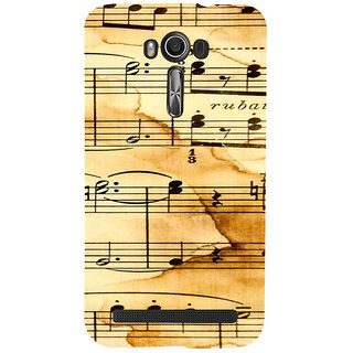 ifasho Animated Pattern design black and white music symbols and lines Back Case Cover for Asus Zenfone 2 Laser ZE601KL