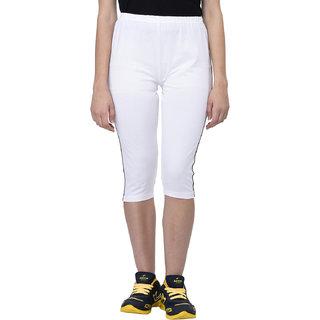 Espresso Womens Sportive Cotton Capris-WHITE