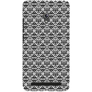 ifasho Animated Pattern design black and white flower in royal style Back Case Cover for Asus Zenfone 5