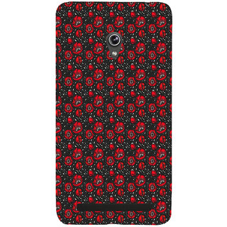 ifasho Animated Pattern small red rose flower with black background Back Case Cover for Asus Zenfone 5