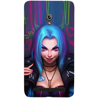 ifasho Blue hair Girl smiling Back Case Cover for Asus Zenfone 6