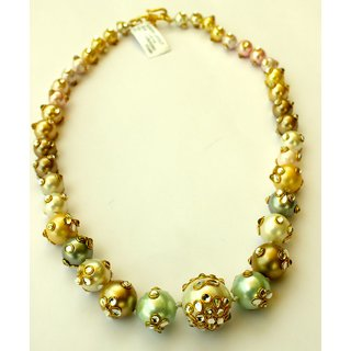Sky Blue & Golden Pearl Necklace With Polki  Embedded