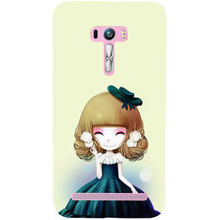 ifasho Winking Girl with green Cap Back Case Cover for Asus Zenfone Selfie