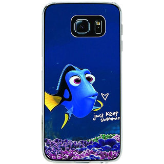 ifasho Fish cartoon just keep swimming Back Case Cover for Samsung Galaxy S6