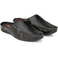 ZebX Men Black Leather Sandals