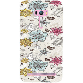 ifasho Animated Pattern colrful design flower and cage and hen Back Case Cover for Asus Zenfone Selfie