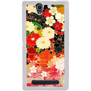 ifasho Animated Pattern flower with leaves Back Case Cover for Sony Xperia C4