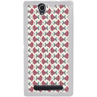 ifasho Modern Art Design Pattern Lot of fish Back Case Cover for Sony Xperia C4
