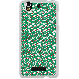 ifasho Pattern green white and red animated flower design Back Case Cover for Yureka