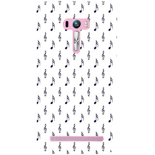 ifasho Animated Pattern design black and white music symbols and lines Back Case Cover for Asus Zenfone Selfie