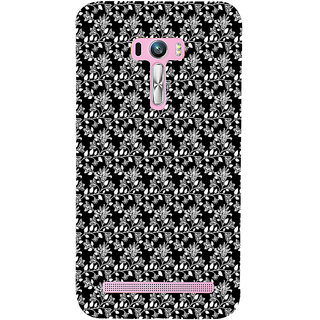 ifasho Animated Pattern design black and white flower in royal style Back Case Cover for Asus Zenfone Selfie