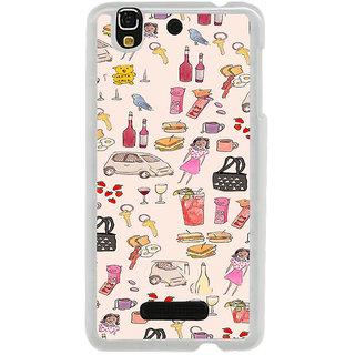 ifasho Modern Art Design Pattern girl shop car food bird Back Case Cover for Yureka