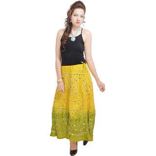 Rajasthani Light Green Bandhej Design Cotton Skirt