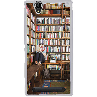 ifasho colrful design library pattern Back Case Cover for Sony Xperia T2