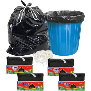 Sahil Pack of 4 Black Biodegradable Tie String Garbage Bags (40 pcs)