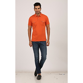 Orange Polo Neck Half Sleeve T-Shirt for Men