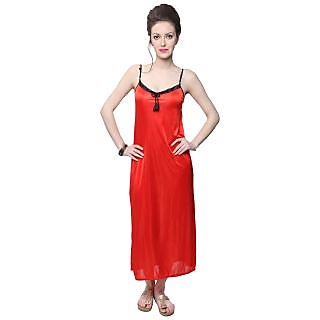 Kanika Women Satin Nighty-Red