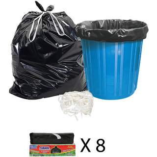 Sahil Pack of 8 Black Biodegradable Tie String Garbage Bags (80 pcs)