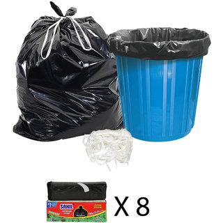 Sahil Pack of 8 Black Biodegradable Tie String Garbage Bags (80 pcs)