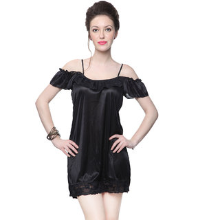 Kanika Women Satin Nighty-Black