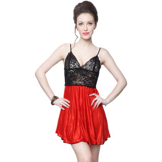 Kanika Women Satin Nighty-Red  Black