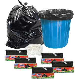 Sahil Pack of 5 Black Biodegradable Tie String Garbage Bags (50 pcs)