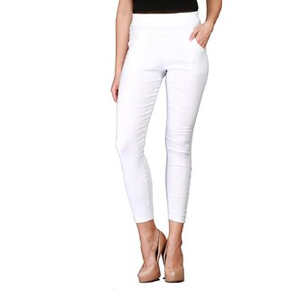 Comfortable Casual Cotton Solid White Women's Slim Fit Jeggings