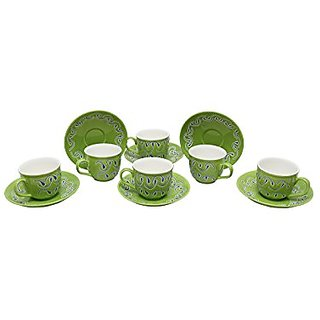 Tea Cup Amp Saucers Set In Green Colour Handmade Pottery On Stonish Platform