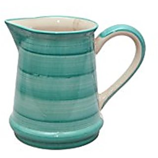 Stonish Ceramic/Stoneware Water Jug/Pitcher In Sea Green Colour ( Set Of 1) Handmade Pottery