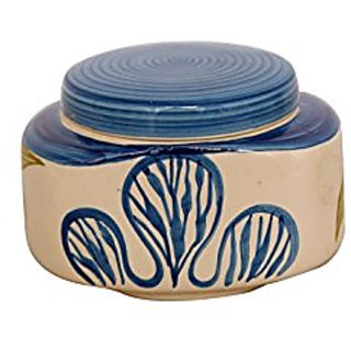 Barni/Jar Container In Blue And White Colour With Flower Pattern (Set Of 1) Handmade Pottery By Stonish