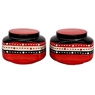 Barni/Jar Container In Red And Black Colour With Dotted Pattern (Set Of 2) Handmade Pottery By Stonish