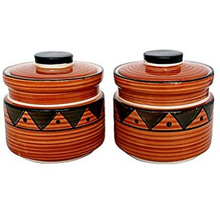 Barni/Jar Container In Brown Colour With Egyption Pattern (Set Of 2) Handmade Pottery By Stonish