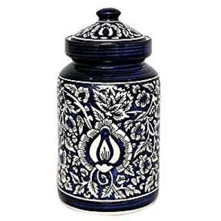 Barni/Jar Container In Royal Blue Colour With Mughal Pattern (Set Of 2) Handmade Pottery By Stonish