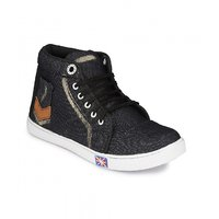 Groofer Men's Black Denim  High Top Shoes