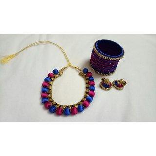 Silk thread jewelry set
