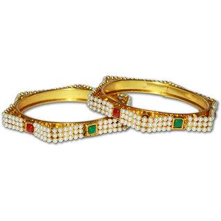 Lakshya Gold Plated Moti Bangles-L-033