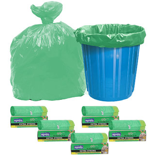 Epido Pack of 5 Green Biodegradable Drawstring Garbage Bags (50 pcs)