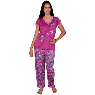 Kanika Women Cotton Top  Payjama Set-Purple