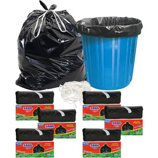 Sahil Pack of 6 Black Biodegradable Tie String Garbage Bags (180 pcs)