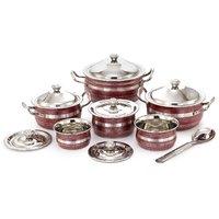 Mahavir 13 Pcs Stainless Steel Induction Friendly Cook N Serve Set