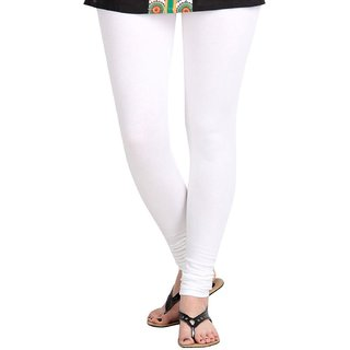 Women's Cotton Lycra Churidar  White Leggings