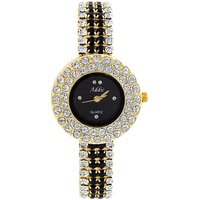Addic Fashion Black Dial Stone Studded Belt Watch For Womens And Girls.