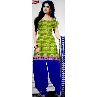 Green  Blue Color 100 Cotton Printed Designer Unstitched Dress Materials From Shalibhadra Enterprise