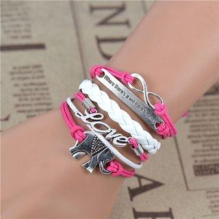 Love Elephant Positive Quote Charm Bracelet - Hot Pink