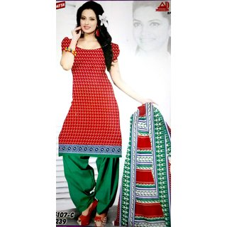 Red  Green Color 100 Cotton Printed Designer Unstitched Dress Materials From Shalibhadra Enterprise